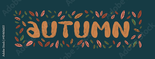 Slika na platnu The inscription autumn, where the letters are shown by hands