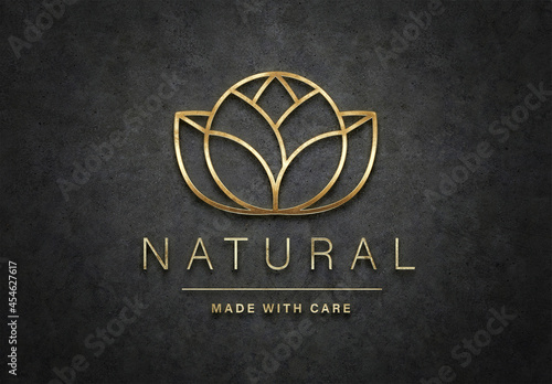 Gold Logo Mockup with 3D Glossy Textured Effect