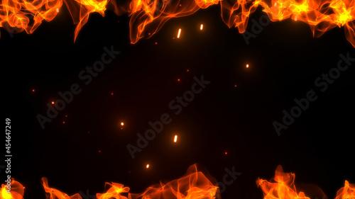 Photo 上下の激しく燃え盛る炎とゆらめく火の粉と火花