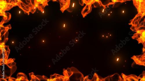 Fotografiet 上下の激しく燃え盛る炎とゆらめく火の粉と火花