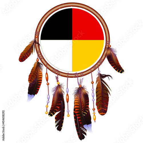 Obraz na plátně Native American Medicine Wheel Dreamcatcher