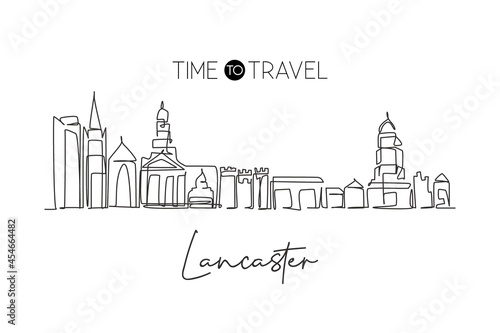 Canvas Print Continuous one line drawing Lancaster city skyline, England