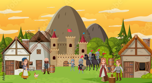 Slika na platnu Medieval town scene with villagers and warriors