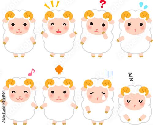 Valokuvatapetti 羊のキャラクターのイラストセット