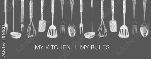 Fotografie, Obraz Hand drawn typography poster. My kitchen, my rules