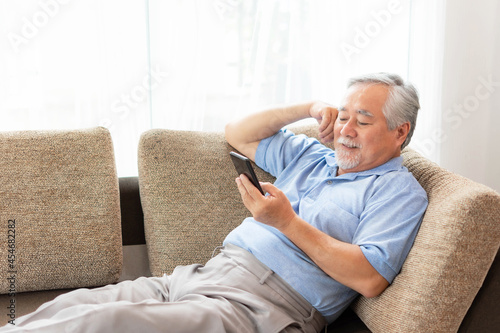 Tela Senior Male using a smartphone , smiling feel happy on sofa at home - lifestyle