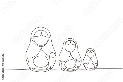 Billede på lærred Continuous one line drawing matryoshka russian nesting dolls of different sizes, souvenir from Russia