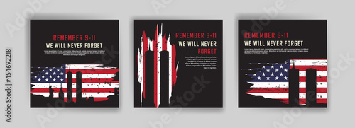 Social media post template to commemorate the September 11 attacks. Patriot day USA Never forget 9/11 poster.