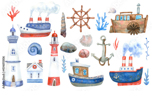 Obraz na plátně Watercolor nautical set with ships , lighthouses, steamboats on white background