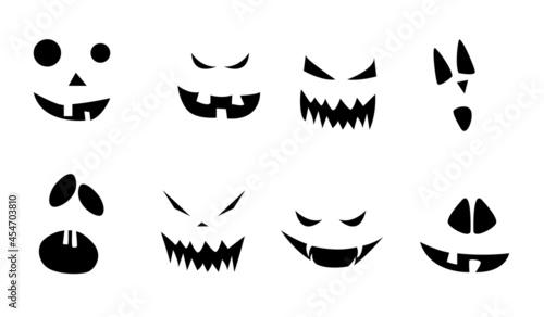 Billede på lærred Scary Halloween Pumpkin Faces Icons