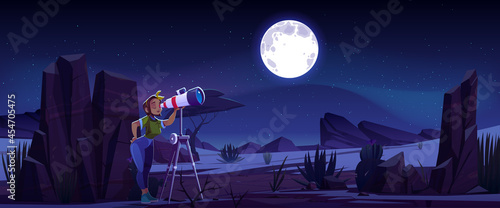 Obraz na plátne Woman look in telescope, curious young girl explore moon and stars on dark night sky