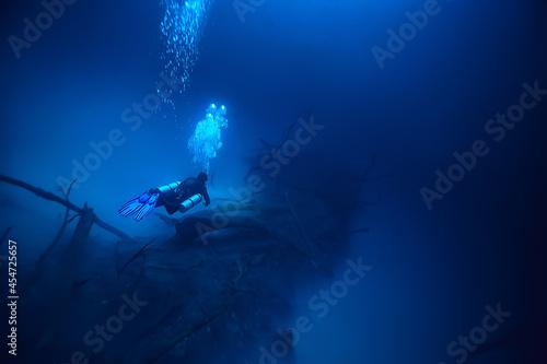 Fototapeta cenote angelita, mexico, cave diving, extreme adventure underwater, landscape un