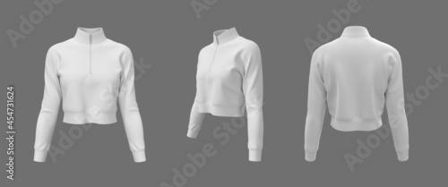 Fotografija Blank cropped jacket mockup, 3d rendering, 3d illustration