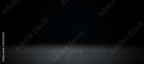 Fotografía Black asphalt road and empty dark street scene background with studio room interior texture for display products wall background