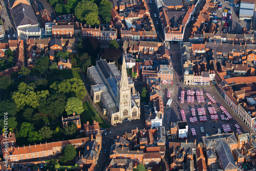 Photo Aerial shot of the St Mary Magdalene Church in Newark-on-Trent, England