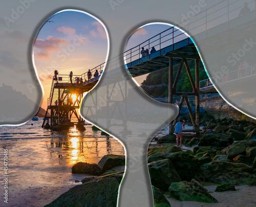 Fotografering Atardecer desde la pasarela y escaleras del NAUTICO en la ciudad de San Sebastiá