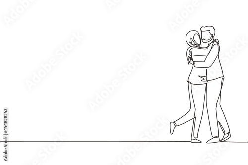 Single continuous line drawing loving Arab couple kissing and hugging Fototapete