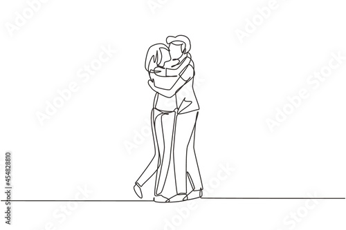 Leinwand Poster Single one line drawing loving couple kissing and hugging