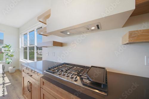 Fotografija Well lit modern contemporary kitchen interior with wood