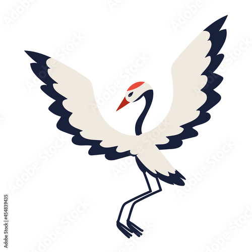 Fototapeta premium crane bird flat icon