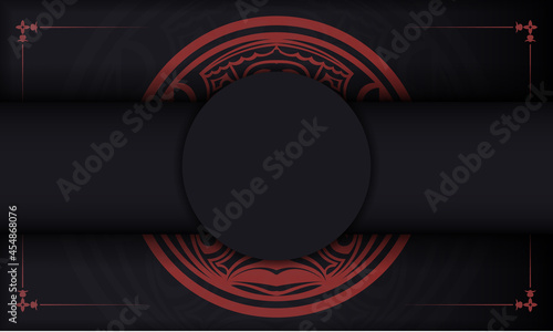 Fotografie, Obraz Black banner with polynesia ornaments and place for your logo