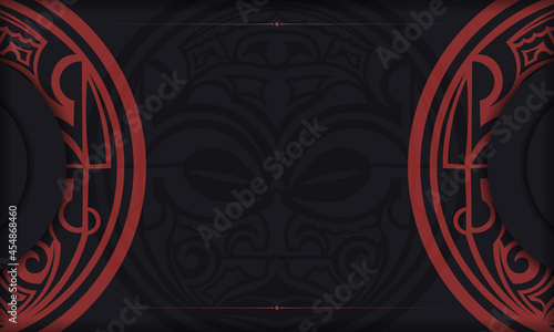 Fotografie, Obraz Black postcard with Maori god mask vintage ornaments and place for your text and logo