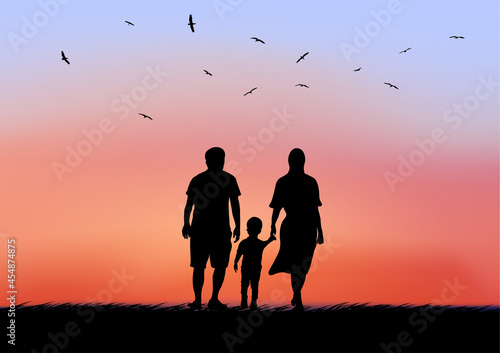 Canvastavla father mother and son with look twilight silhouette of nature after  sunset on t
