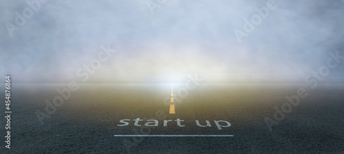 The startup, small business owner on the asphalt road, get ready on starting the highway concept for business planning.