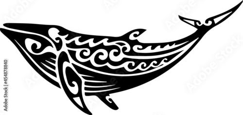Fotografie, Obraz Humpback Whale tattoo tribal stylised maori design