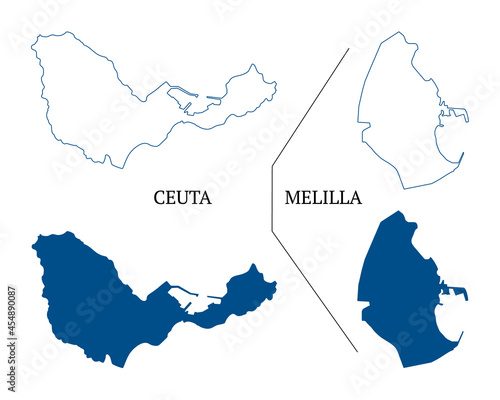 Ceuta and Melilla map vector, autonomous cities of Spain. High detailed vector outline and blue silhouette of Ceuta and Melilla. All isolated on white background. Vector illustration