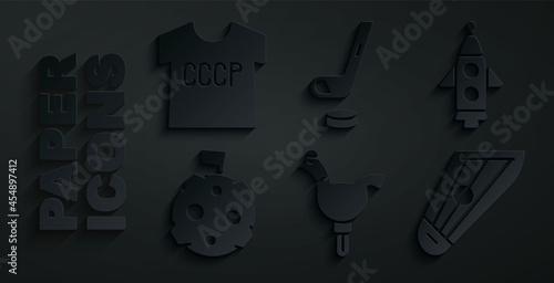 Slika na platnu Set Cockerel lollipop, Rocket ship, Moon with flag, Kankles, Ice hockey stick and puck and USSR t-shirt icon