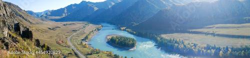 Fotografie, Obraz Autumn panoramic view of the turquoise Katun river and Altai mountains
