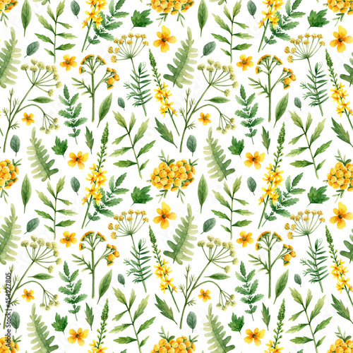 Tela Pattern with wild flowers in watercolor