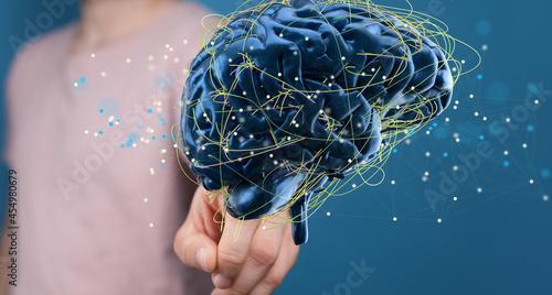Canvas Human brain activity with plexus lines