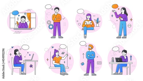 Canvas Print Set of dreaming male and female characters on white background