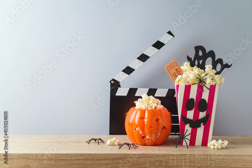 Horror movie night and Halloween party concept with jack o lantern pumpkin,  pop Fotobehang