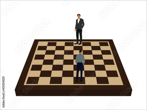 Obraz na płótnie Two male characters in business clothes stand on a chessboard in the places of k