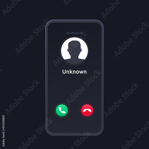 Obraz na plátně unknown caller, scam phone call, vector interface design