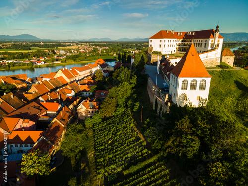 Stampa su Tela Ptuj Castle or Ptujski Grad in Hilltop in Slovenia Oldest City