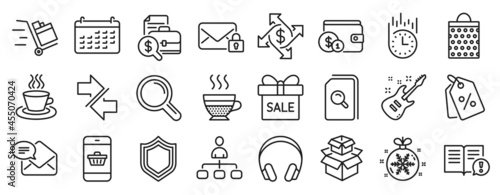 Fotografia Set of line icons, such as Management, Security, Synchronize icons