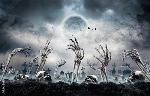 Zombies Rising In Dark - Bones And Skulls Out Of A Cemetery Fotobehang