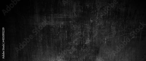 Vászonkép Scary on damaged grungy crack and broken concrete bricks wall and floor, black a