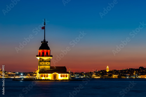 Canvas Evening over Bosphorus with famous Maiden's Tower