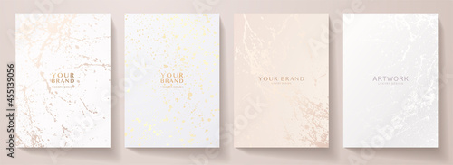Contemporary cover design set. Creative art pattern with splash, paint drop (spot) on white background. Artistic vector collection for notebook, flyer template, grunge poster, cosmetic product