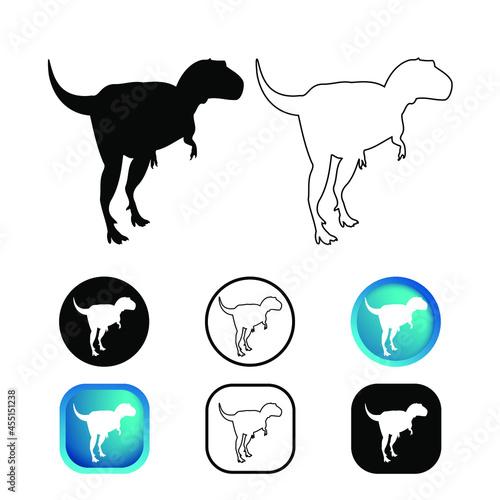фотография Abstract Gorgosaurus Dinosaur Icon Set