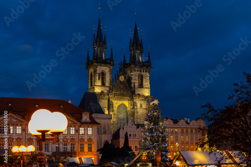 Fototapeta Old town square in Prague at Christmass time, Czech Republic