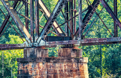 Canvas Print A railroad trestle over the Catawba river near Rock Hill, South Carolina, USA