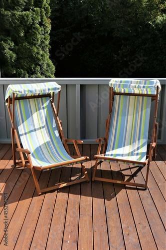 Canvastavla deck chair on the beach