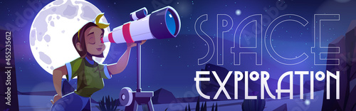 Obraz na plátně Space exploration banner with woman looking through telescope on night sky