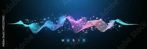 Fotografie, Obraz Music wave flow poster design with lines and dots